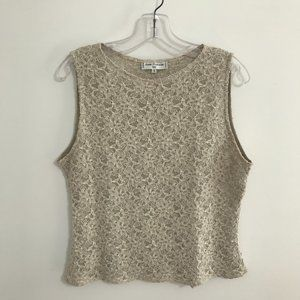 Anne Fontaine Sleeveless Lace Top in Beige
